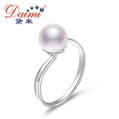 DAIMI Simple Elegant Ring 7-8mm Round River Pearl Ring 925 Sterling Silver Ring Fine Jewelry Bridal Wedding Accessories New Ring