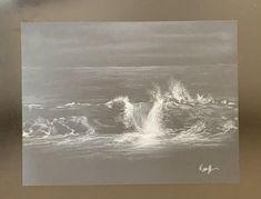 Black Paper Drawing, Pastel Drawing, Black And White Landscape, Black White Art, Contrast Art, Wave Drawing, Soft Pastel Art, Black Artwork, Wave Art