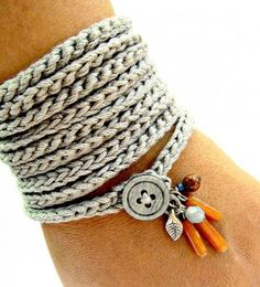 Crochet bracelet with charms in silver grey by CoffyCrochet for $18.00