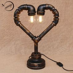 Industrial Steam Punk Pipe Heart Desk Lights Table Lamp Sconce Lighting Fixtures | Collectibles, Lamps, Lighting, Lamps: Electric | eBay!