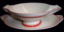 VINTAGE WESTCHESTER WHITE & RED GRAVY BOAT by CANONSBURG POTTERY CO