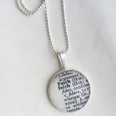 Faith word necklace, one of a kind vintage dictionary word necklace, word necklace, faith necklace, religious necklace