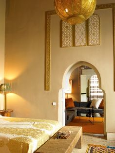 Guest room at the Ryad Dyor in Marrakech.. love the arabian style