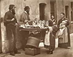 vintage everyday: Old Pictures of London in Victorian Era : A Victorian fancy wear dealer selling ornaments from his barrow. Original Artwork: From 'Street Life In London' by John Thomson and Adolphe Smith - pub. 1877 (Photo by John Thomson/Getty Images) Victorian London, Victorian Street, Victorian Life, Vintage London, Victorian Era Facts, London Pictures, Old Pictures, Old Photos, London Photos