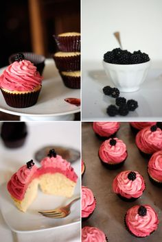 Lemon Cupcakes with Blackberry and Raspberry Buttercreams. UNREAL