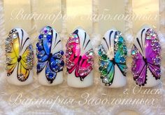 Beautiful nail art designs that are just too cute to resist. It's time to try out something new with your nail art. Daisy Nail Art, Daisy Nails, Butterfly Nail Art, Flower Nails, Butterfly Design, Nautical Nail Designs, Nautical Nail Art, Nail Art Designs, Nails Design