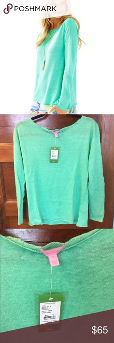 New Lilly Pulitzer Alana Boatneck Sweater Green New with tags. Size small. Color is green sheen. No trades and posh only. Lilly Pulitzer Sweaters Crew & Scoop Necks