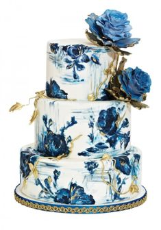 Wedding Cakes Blue and Gold Rose Hand-Painted Wedding Cake by Nadia Beautiful Wedding Cakes, Gorgeous Cakes, Pretty Cakes, Amazing Cakes, Unique Cakes, Creative Cakes, Elegant Cakes, Painted Wedding Cake, Cake Wedding