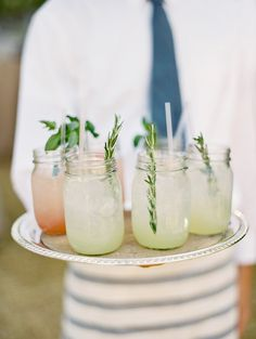 : rustic wedding with cocktails in mason jars and herb garnishes :. Drink Bar, Food And Drink, Cocktails, Cocktail Drinks, Summer Drinks, Refreshing Drinks, Partys, Signature Cocktail, Mets