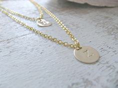 Layered Heart Initial Necklace,Personalized initial Necklace,14k Gold Filled,Custom handstamped initials,heart tag,Weddings,Bridesamaid,Gift by LetItBeLove on Etsy