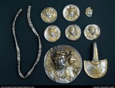 Ravnogor treasure Consisting of 9 silver objects, buried under a mound in a mound necropolis Discovered by G. Kitov in 1987 in the stones under the mound while doing excavations near Ravnogor village. It consists of phalerae, a headstall and a chain for horse trappings. Contents. Typical shapes for decoration of the Thracian horse trappings in the late Hellenistic epoch, but in Greek execution