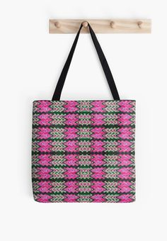 Tote Bags Pink Green Tiled Pattern #redbubble #bags #handbags #purses  http://www.redbubble.com/people/donnagrayson/works/22881700-pink-green-tiled-pattern?asc=t&p=tote-bag