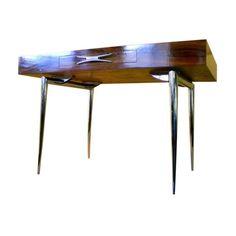Mid Century Chrome Stiletto Leg Rosewood Desk - $8,500 Est. Retail - $5,500 on Chairish.com