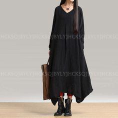 Women Casual Black Long Sleeve Cotton Linen A-Line Maxi Shirt Dress Abaya Kaftan | eBay