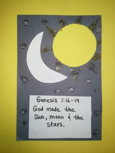 """God made the Sun Moon & Stars"". Bible Crafts For Kids, Preschool Bible, Bible Lessons For Kids, Preschool Crafts, Moon Crafts, Light Crafts, Sunday School Lessons, Sunday School Crafts, Toddler Bible"