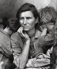 """☆ """"Migrant Mother"""" For many, this picture of Florence Owens Thompson (age 32) represents the Great Depression. She was the mother of 7 and she struggled to survive with her kids catching birds and picking fruits. Photographer """"Dorothea Lange"""" took the picture after Florence sold her tent to buy food for her children. She made the first page of major newspapers all over the country and changed people's conception about migrants.。☆"""