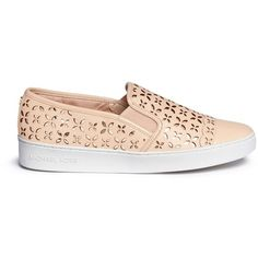 Michael Kors 'Susanna' lasercut leather slip-on sneakers ($125) ❤ liked on Polyvore featuring shoes, sneakers, pink, metallic sneakers, pink shoes, slip on sneakers, michael kors shoes and floral sneakers