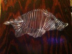 Razorback and Arkansas Nail and String Art by WooPigCraftology, $100.00