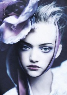 deprincessed:  Dark Blooms: To honour the comeback of an icon here's my all time favourite image of supermodel Gemma Ward wearing a flower headpiece and an innocent glaze in a gloomy shot by legend Paolo Roversi for Vogue UK March 2004. via.