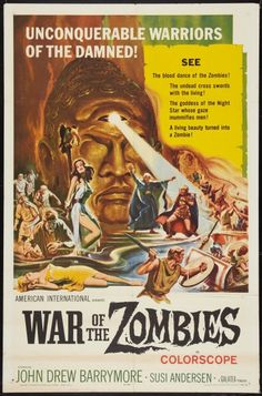 Vintage Film Poster - War of the Zombies Art Print by Ferdinand Bardamu - X-Small Horror Movie Posters, Movie Poster Art, Horror Films, Horror Art, Zombie Movies, Zombie Art, Classic Horror Movies, Fantasy Movies, Vintage Horror