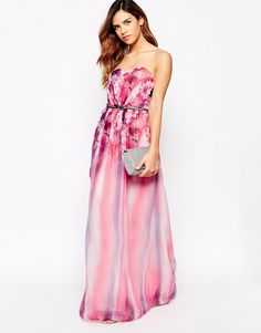 Immagine 4 di Little Mistress Belted Maxi Dress In Floral Ombre Print