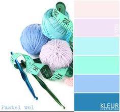 BOLLEN WOL - Kleurenpalet pastel roze, aqua, blauw. Haken