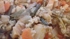 Πρασόρυζο με ντομάτα Shrimp, Grains, Rice, Meat, Food, Essen, Meals, Seeds, Yemek
