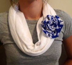 White Jersey Infinity Scarf with Scarf Pin (University of Kentucky, University of Louisville, Red and White Chevron, or Solid White
