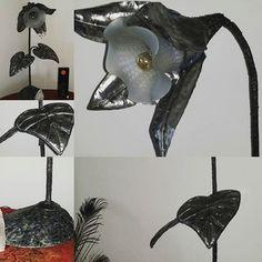 Metal and glass - Flower lamp #metalart #metalartist #raywoledge #sunrayartyfacts