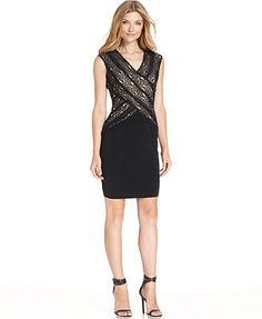 Calvin Klein Dress, Sleeveless Crisscross Lace Sheath