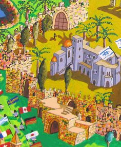 A painting of the Old City of Jerusalem Yemin Moshe Jewish Quarter Al-Aqsa Mosque Wall Holy Sepulchre Synagogues mosqueschurches naive painter Raphael Perez
