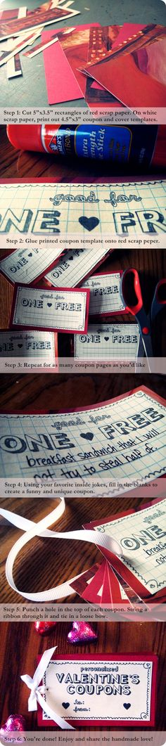 For the boyfriend  DIY Valentines day coupons  http://www.flickr.com/photos/prettyfnmess/4341813115/