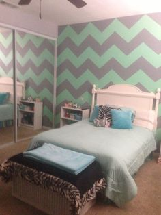 mint green gray chevron walls - Mint Green Bedroom Decorating Ideas