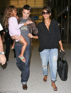 halle berry + jeans