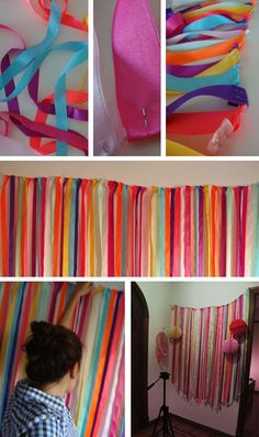 Diy streamers for parties Diy Backdrop, Photo Booth Backdrop, Backdrops, Festa Party, Diy Party, Diy And Crafts, Crafts For Kids, Paper Crafts, Diy Birthday