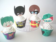 Batman Cupcake Wrappers and Toppers- Digital File - Super Hero Party Decorations - Print at Home. $7.00, via