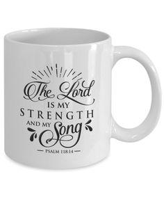 Funny Coffee Mugs, Coffee Humor, Funny Mugs, My Coffee, Coffee Cups, Bible Qoutes, Bible Verses, Psalm 118 14, Hot Chocolate Mug