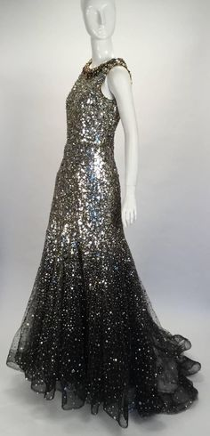 Stunning 80s Oscar de la Renta Sequined Constellation Evening Gown 6