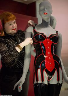 Exhibition Research Assistant Susanna Cordner withLatex outfit designed by Robin Archer for House of Harlot