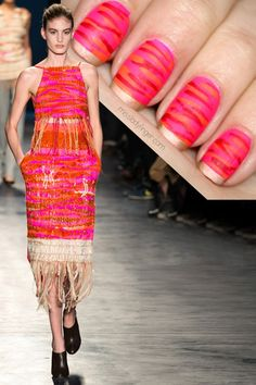 Miss Lady Finger Manicure Muse - Altuzarra Fall '14 - Hot pink nails with orange & red stripes with a golden tip #nailart...x