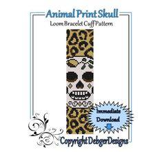 Animal Print Skull  Loom Bracelet Cuff Pattern by LoomTomb on Etsy