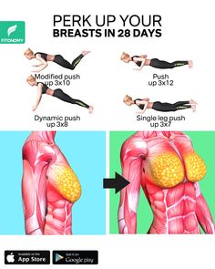 Give your breasts a lift by completing these workouts at home. Push-ups are one of the most effective exercises for your Big Chest Workout, Full Body Gym Workout, Gym Workout Tips, Fitness Workout For Women, Workout Plan For Women, Chest Workouts, Workout Videos, At Home Workouts, Fitness Tips