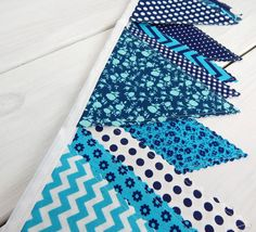 Bunting Fabric Banner, Fabric Flags, Girl Nursery Decor, Photography Prop, Birthday Party - Teal Blue, Navy Blue, Chevron, Flowers
