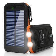 Ayyie Solar Solar Power Bank Portable External Backup Battery Pack Dual USB Solar Phone Charger with Light Carabiner and Compass for Your Smartphones and More (Orange) Solar Phone Chargers, Solar Battery Charger, Solar Energy, Solar Power, Wind Power, Renewable Energy, Bright Led Flashlight, Thing 1, Solar Projects