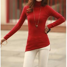 rosewholesale top simple turtle neck solid color