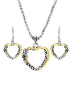 $19.99 Loving this Two-Tone Heart Pendant Necklace & Drop Earrings on #zulily! #zulilyfinds