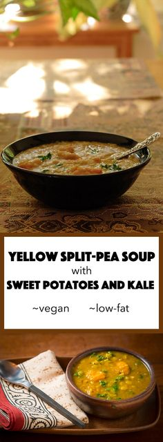 This vegan curried split-pea soup soup is enriched with kale and sweet potatoes so it's a complete meal in a bowl. And you can make it fast in the Instant Pot!