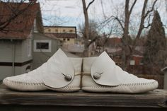 white moccasins 1960s | vtg. leather womens moccasins SUMMER WHITE short boots with silver ...