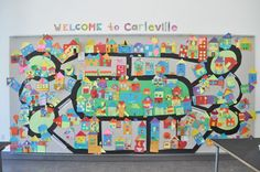 """Collage Paper Shape Houses made into """"Carleville"""" paper city for A Place to Call Home Project Group Art Projects, Collaborative Art Projects, Projects For Kids, Community Helpers, Community Art, Community Building, Art Lessons Elementary, Expo, Preschool Art"""