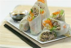 Rice Paper Pork Rolls - great recipe - lots of flavour.  Try adding a small can of finely chopped water chestnuts for added crunch.  Very easy and very popular finger food.